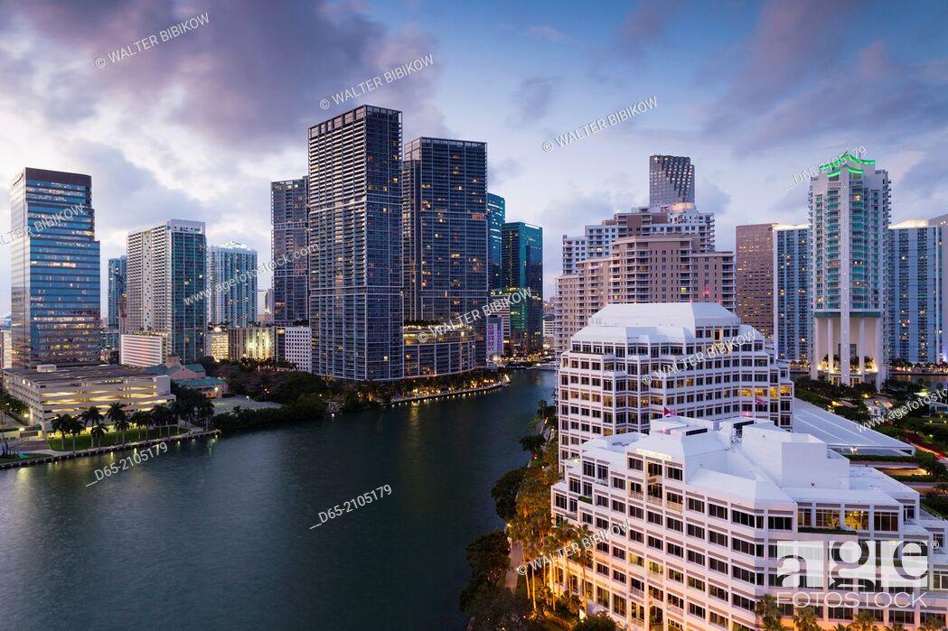 Stock Photo: USA, Florida, Miami, elevated city skyline from Brickell Key, evening.