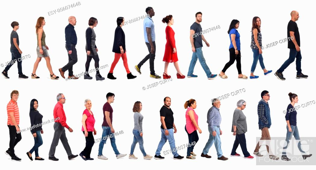 Photo de stock: large group of mixed people walking on white background, .