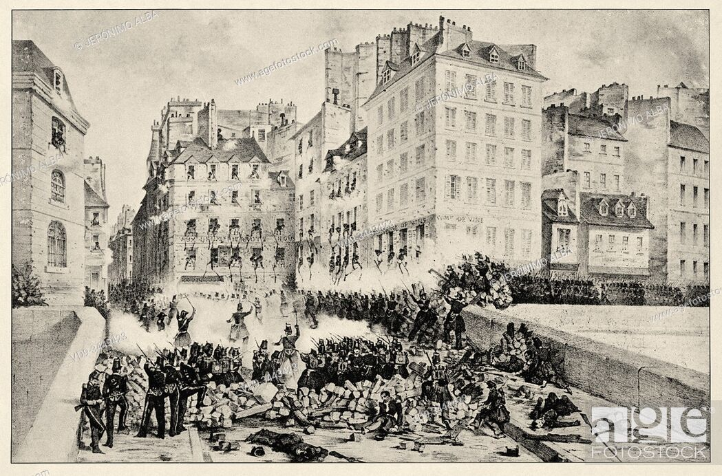 Stock Photo: Taken barricades of the rue du Petit-Pont by the 1 and 2 battalion of the 10 legion and the column under the ordes of General Badeau June 23, 1848.