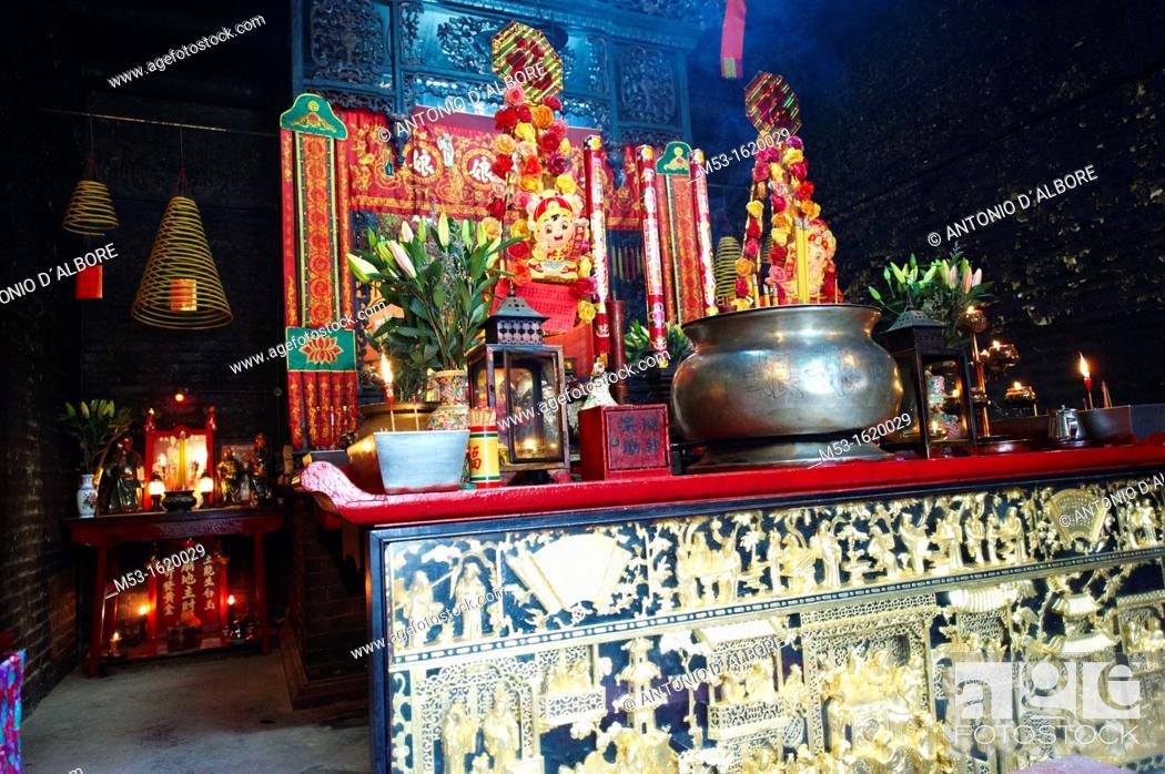 Stock Photo: The altar inside Pak Tai Temple, Taipa Village, Macau  China.