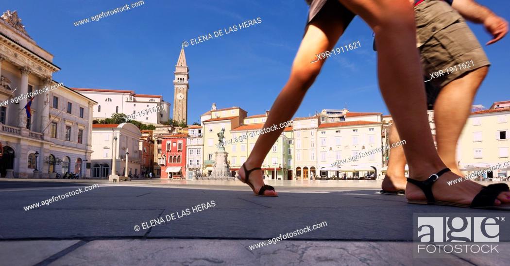 Stock Photo: Tartinijev trg Square and St George church, Piran, Adriatic coast, Slovenia.