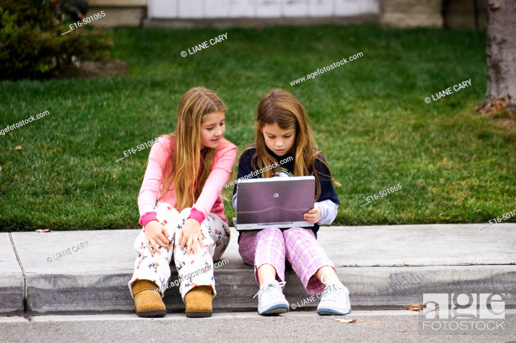 Stock Photo: Kids with computer.