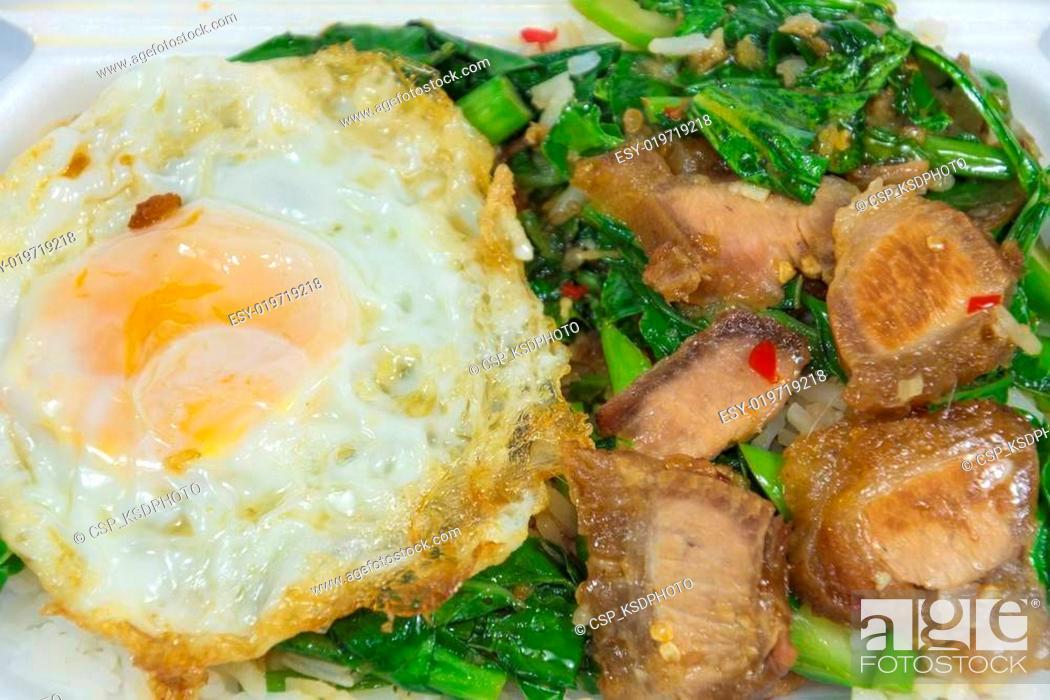 Thai food - Stir fry crispy pork with Kale (Kana Moo Grob), Stock