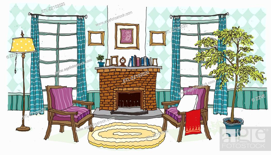 Stock Photo: Fire Place Interior.