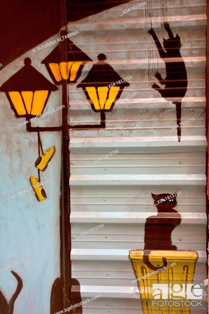 Stock Photo: Cats scene painted on a parking door, Valencia, Spain, Europe.