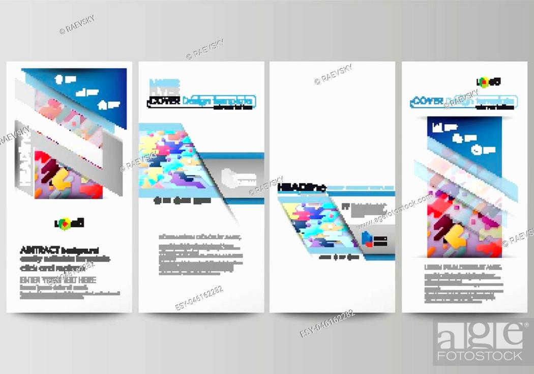 Vector: Flyers set, modern banners. Business templates. Cover design template, easy editable abstract vector layouts. Bright color lines and dots.