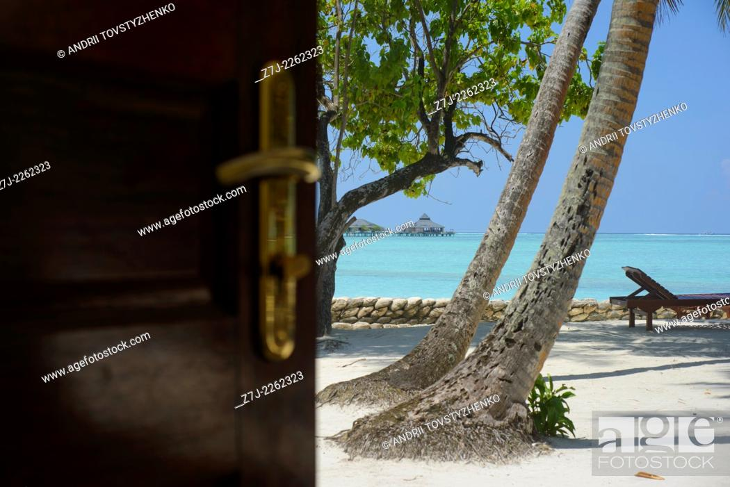 Stock Photo: view of the beach from the bungalows, Maldives.