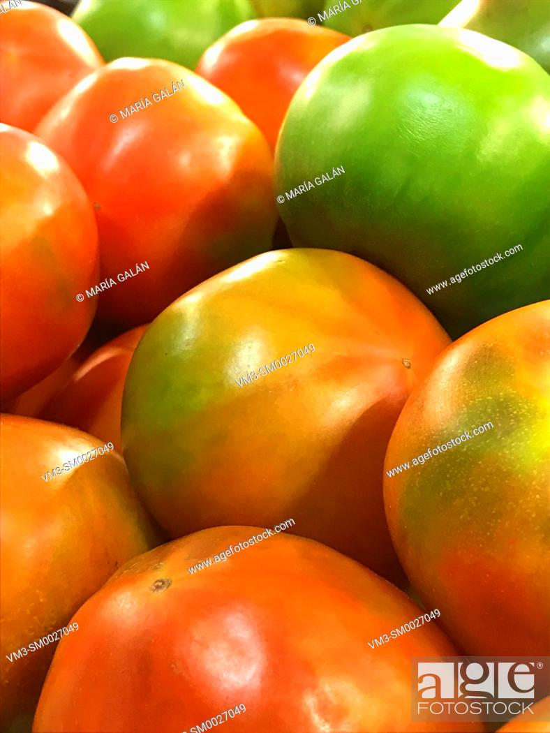 Stock Photo: Green and red tomatoes.