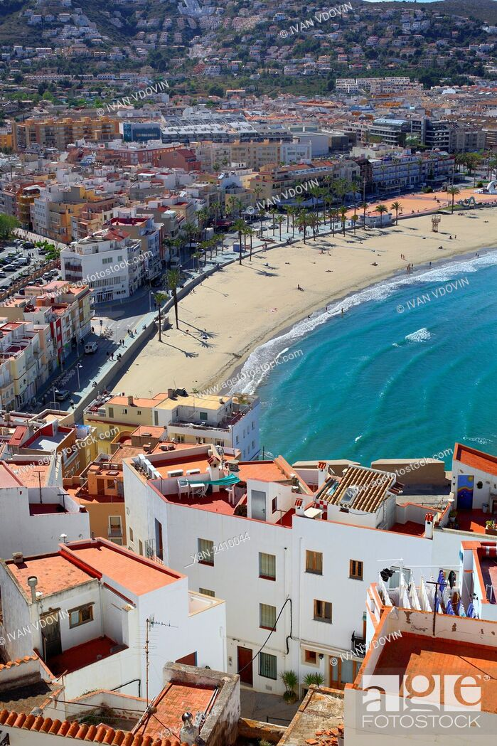 Stock Photo: Cityscape view from castle, Peniscola, Valencian Community, Spain.