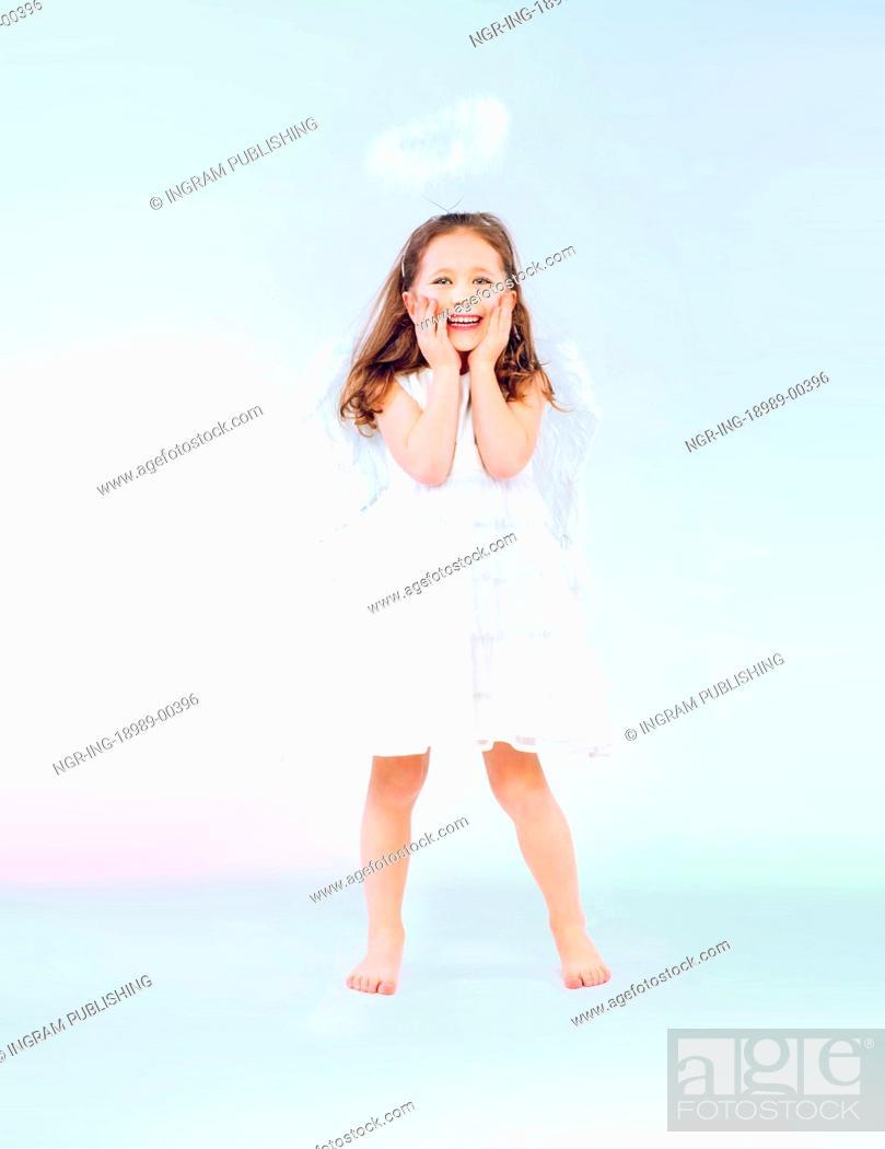 Stock Photo: Cute little girl as an pretty angel.