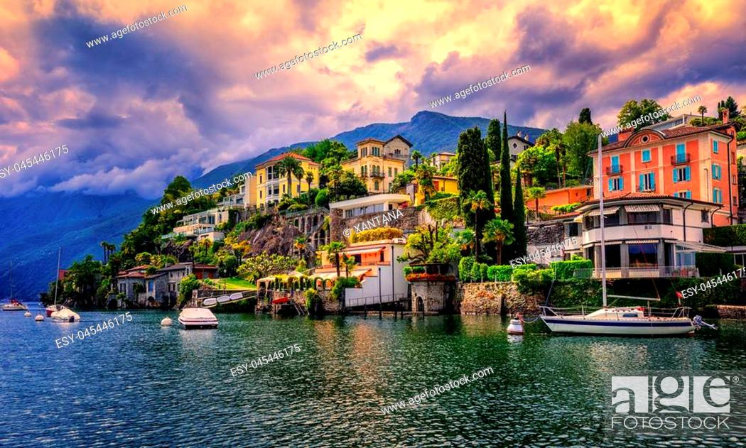 Stock Photo: Dramatic sunset over Ascona, a popular resort town on Lago Maggiore, Switzerland.