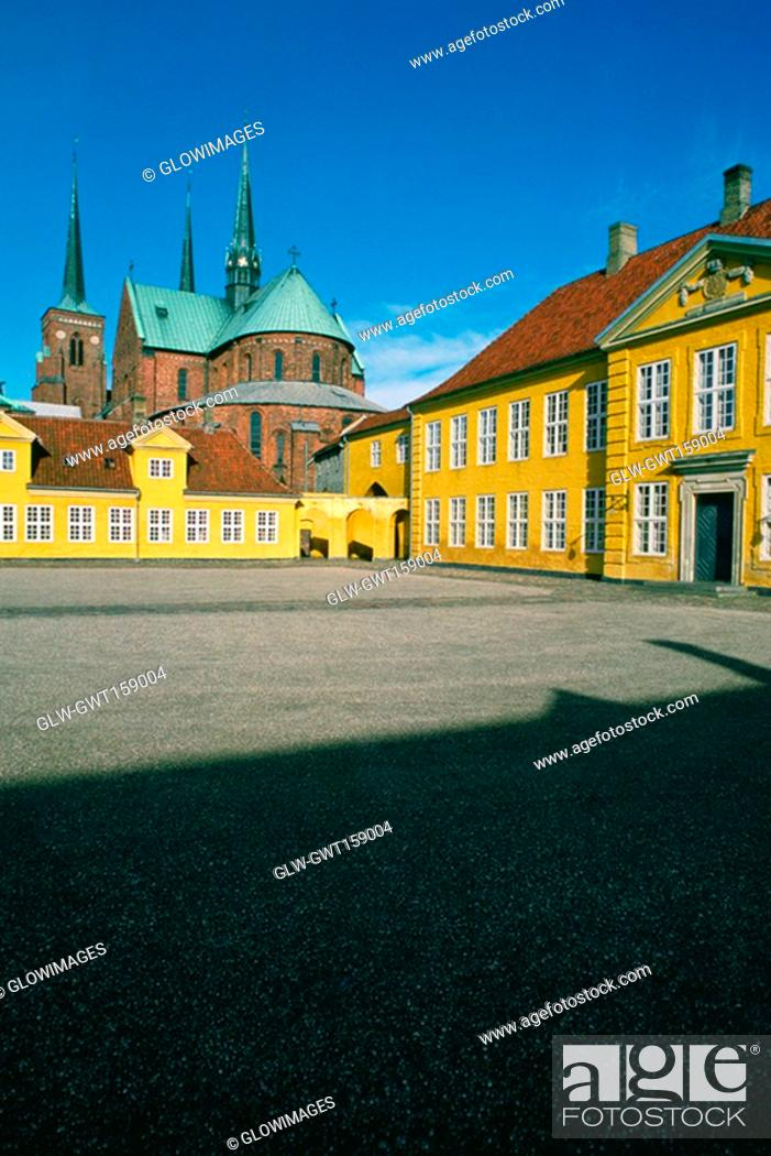 Stock Photo: Facade of a cathedral, Roskilde Palace, Roskilde, Denmark.