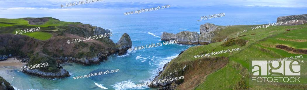 Stock Photo: Aerial view of the landscape around Berellin Beach, Prellezo, Cantabria, Cantabrian Sea, Spain, Europe.