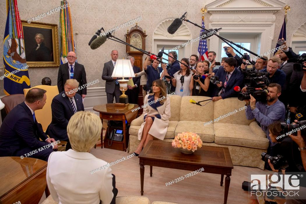 Stock Photo: President of Poland Andrzej Duda and United States President Donald J. Trump meet inside the Oval Office at the White House in Washington, DC on September 18.