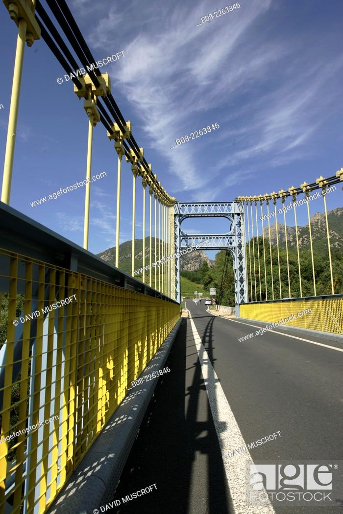 Stock Photo: bridge over the River Orbe near Olargues in the Black Mountains, Languedoc, southern France.