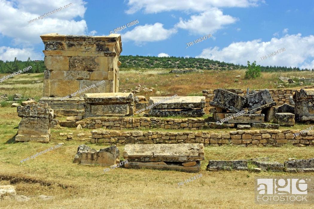 Stock Photo: Necropolis Ancient Graveyard Tombs Hierapolis Roman City Ruin Pamukkale Turkey.