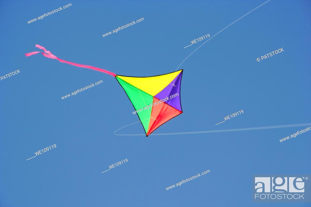 Stock Photo: Colourful kite on the sky.