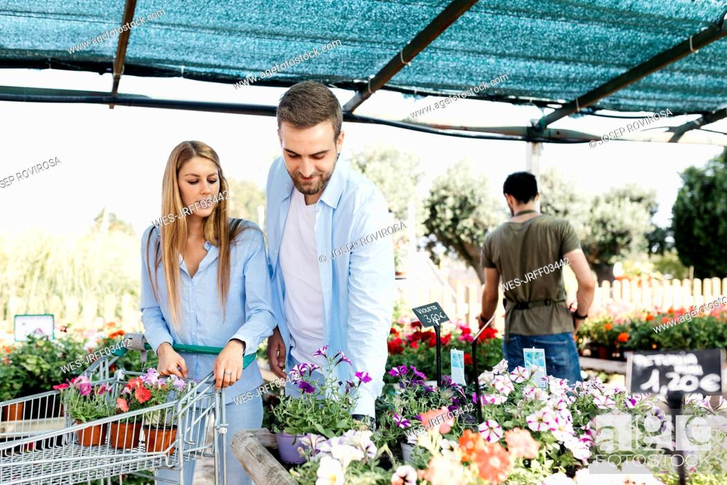 Stock Photo: Couple buying flowers in a garden center.