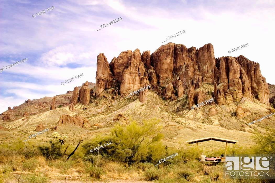 Stock Photo: View of the Superstition Mountains from the picnic area  Superstition Mountains in Lost Dutchman State Park near Mesa, Arizona  The Superstition Wilderness area.