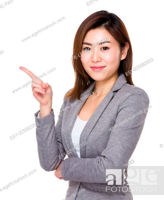 Stock Photo: Businesswoman with finger point up.