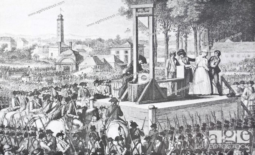 Stock Photo: Book illustration representing the public execution of Marie Antoinette the queen of France in 1793 ( Paris, France).