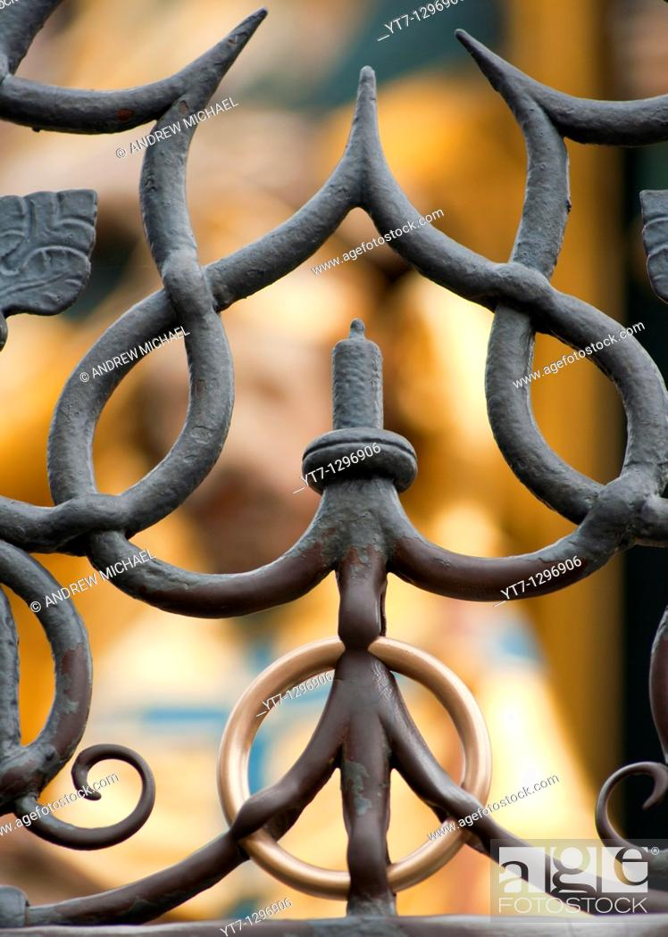 Stock Photo: The Nuremberg Ring now welded within an iron fence is said to bring good luck to those that touch it, Germany.