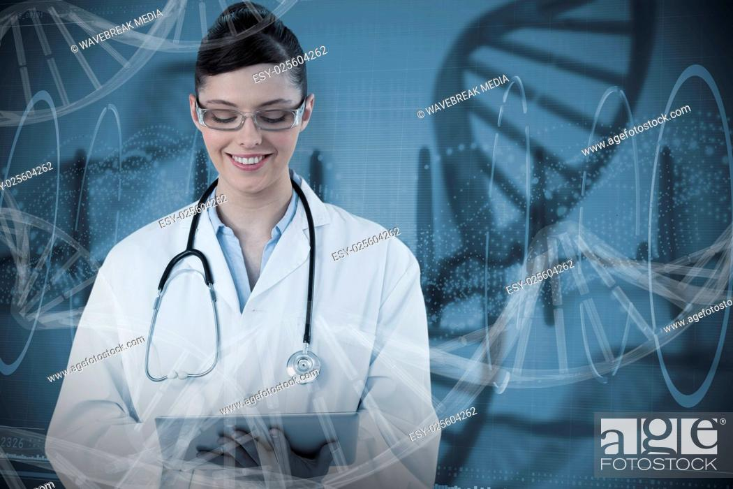 Stock Photo: Composite image of beautiful female doctor using digital tablet.