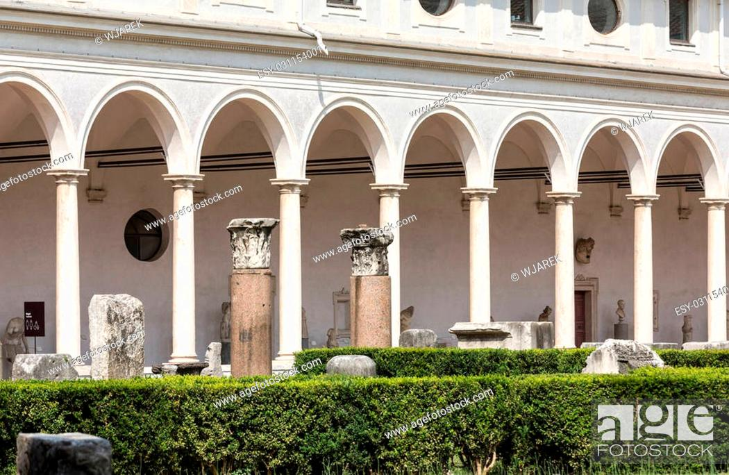Stock Photo: The baths of Diocletian (Thermae Diocletiani) in Rome. Italy.