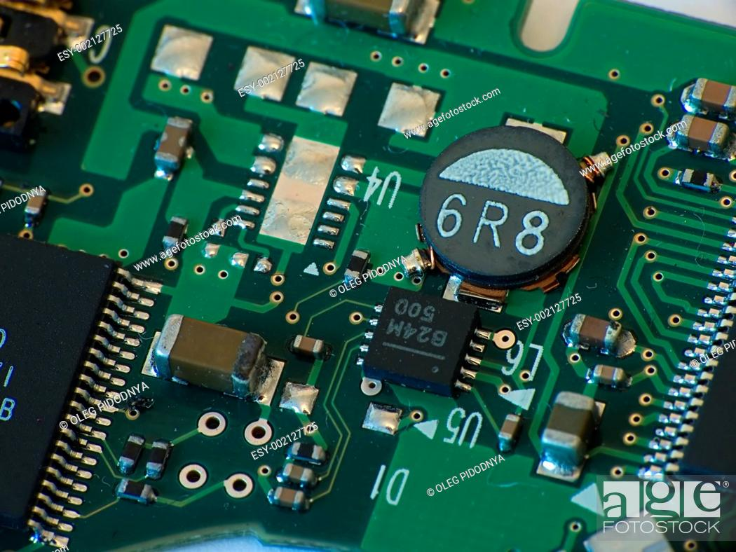 Stock Photo: Close up electronics parts.
