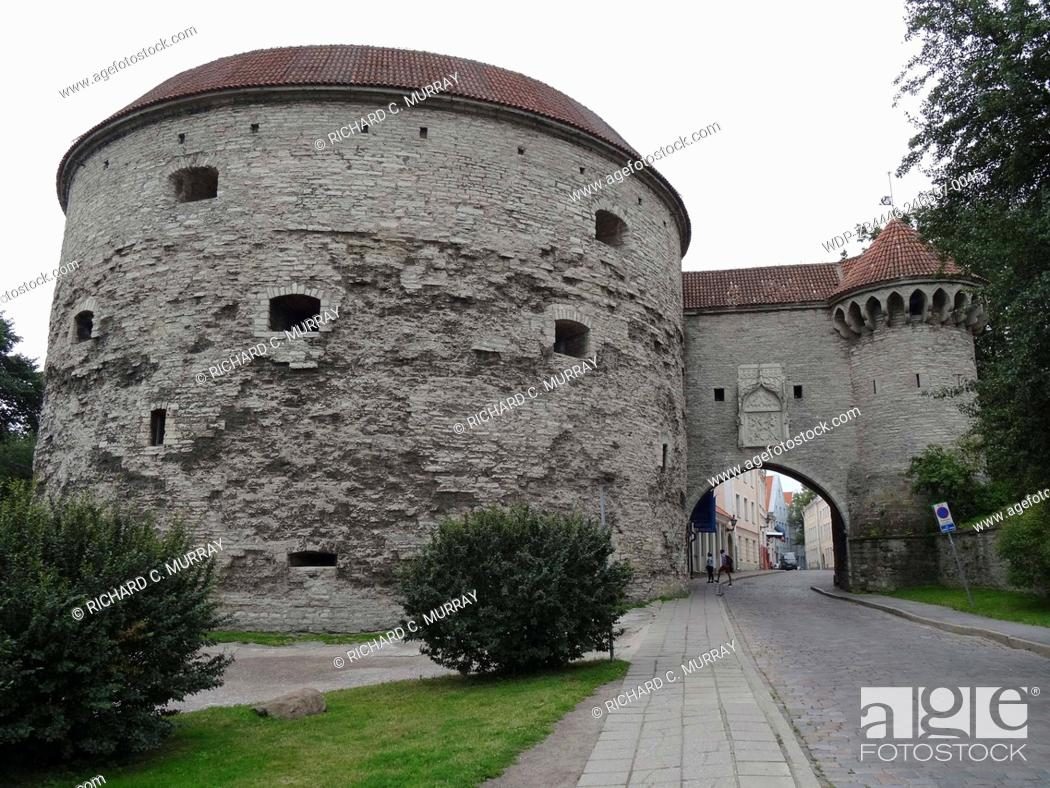 Stock Photo: Entrance to Old Tallinn Old Medieval Town Fat Margrets Cannon Tower-Tallinn, Estonia.