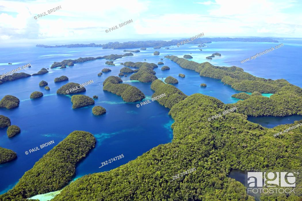 Stock Photo: Aerial view of islands in the Archipelago of Palau, Republic of Palau, Micronesia, Pacific Ocean.