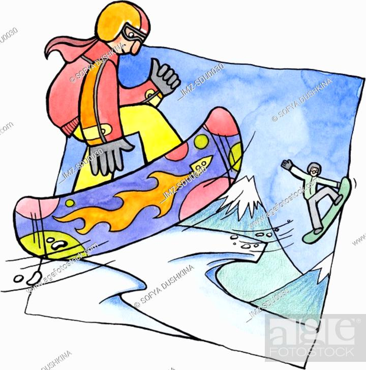 Stock Photo: Two people snowboarding.