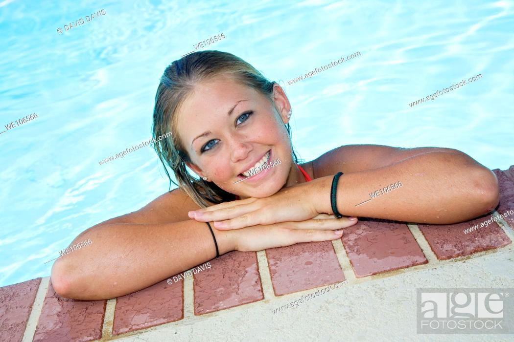 Stock Photo: Caucasian teen in swimsuit.
