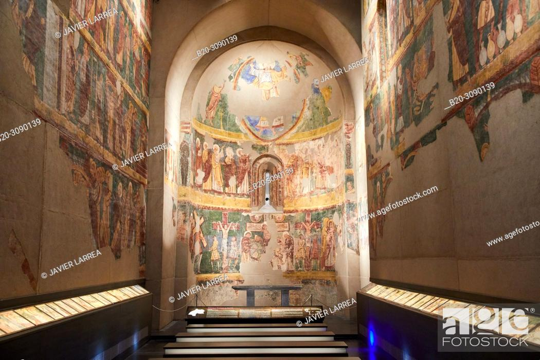 Stock Photo: Mural paintings. Iglesia de los Santos Julian y Basilisa en Bagüés (Zaragoza), Diocesan Museum, Museo Diocesano, Jaca, Huesca province, Aragón, Spain, Europe.