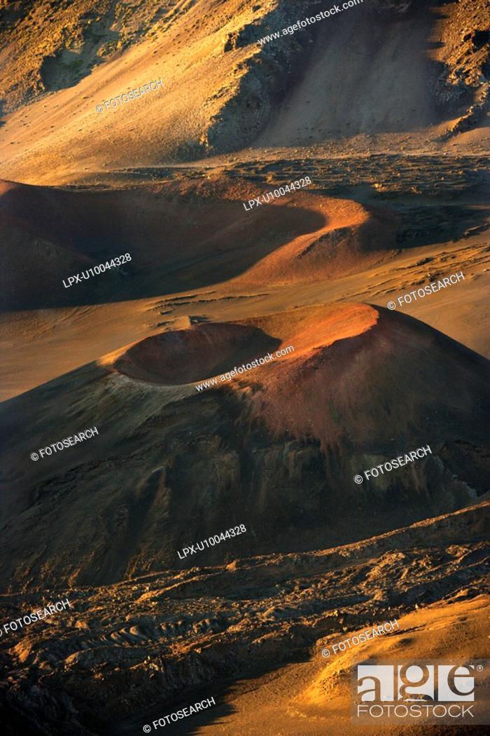 Stock Photo: Aerial of dormant volcano in Haleakala National Park, Maui, Hawaii.