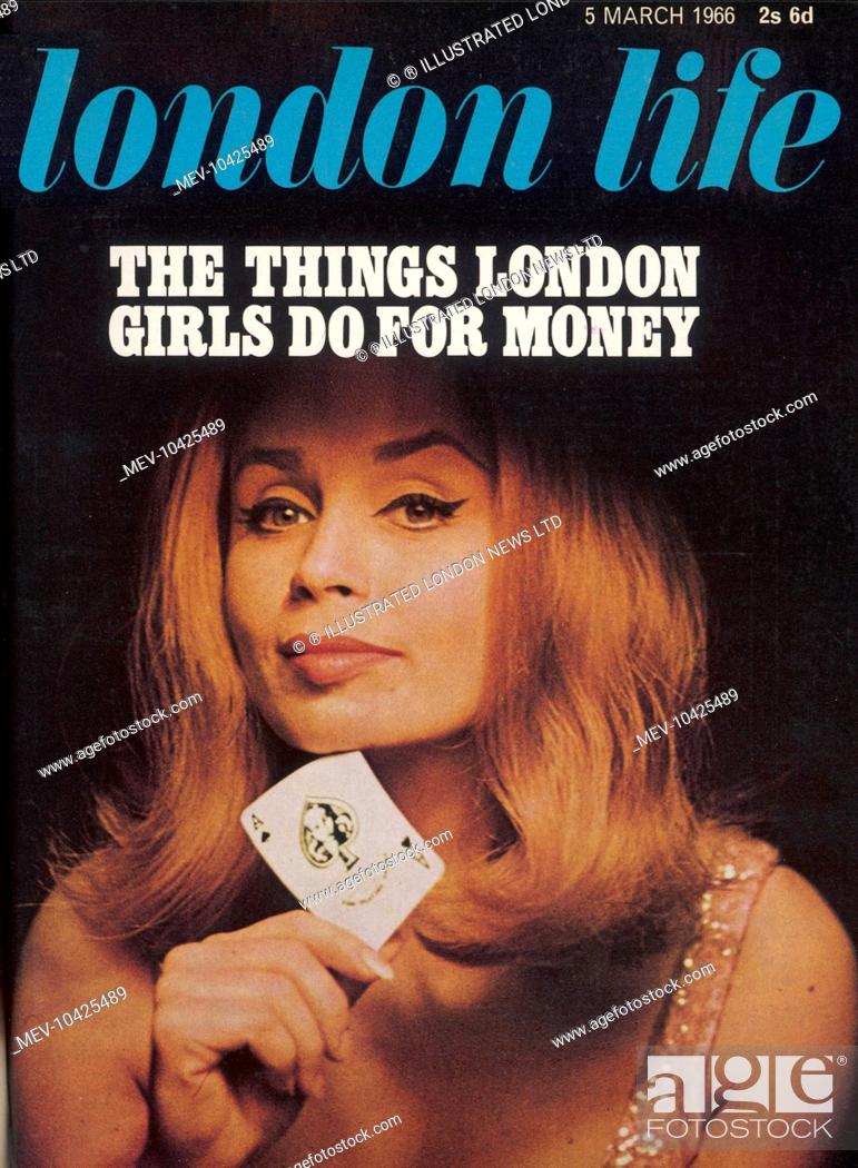 Stock Photo: Front cover of London Life magazine with the provocative headline, The Things London Girls Do for Money and a photograph of a flirtatious woman called Marilyn.