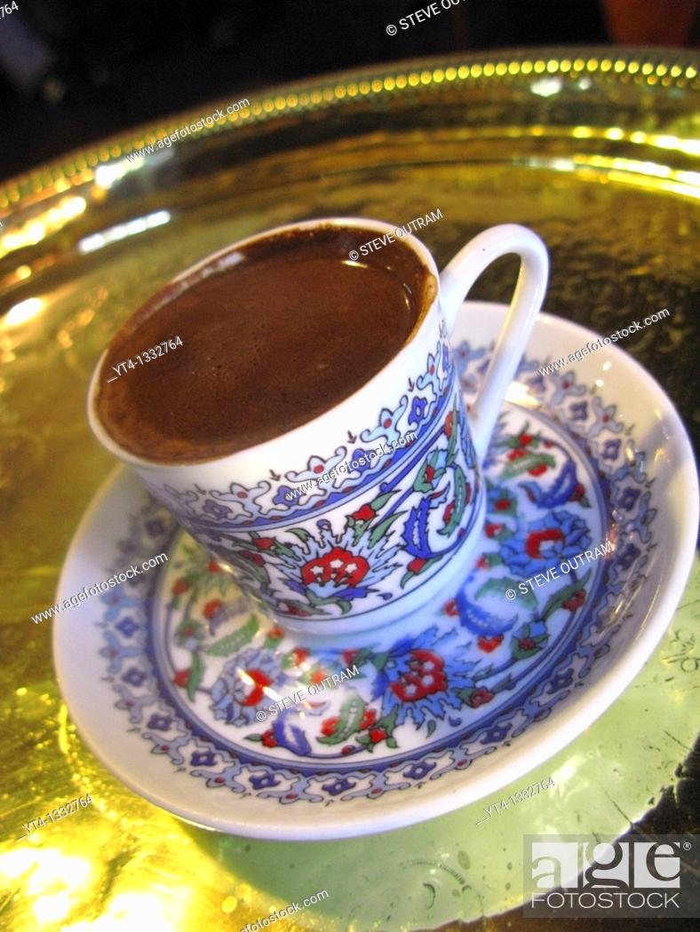 Stock Photo: A Cup of strong Turkish Coffee, Pierre Loti Cafe, Eyup, Istanbul, Turkey.