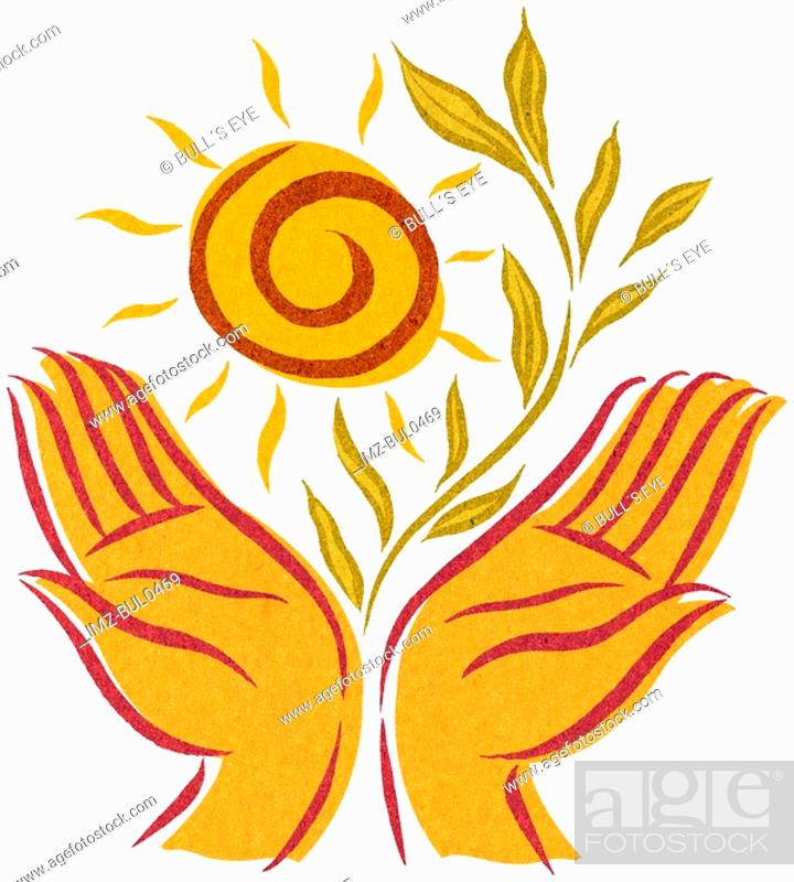 Stock Photo: Open hands with a sun and growing plant.