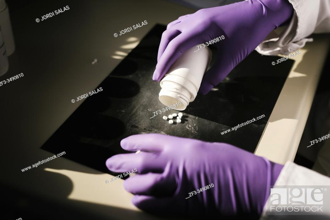 Stock Photo: Hands of a scientist working with some pills.