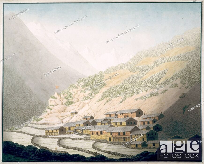 Imagen: The village of Niti, Kumaon U.P.. 4 June 1812. Watercolour. Originally published/produced in 1812. Illustrated by Hyder Young Hearsey.