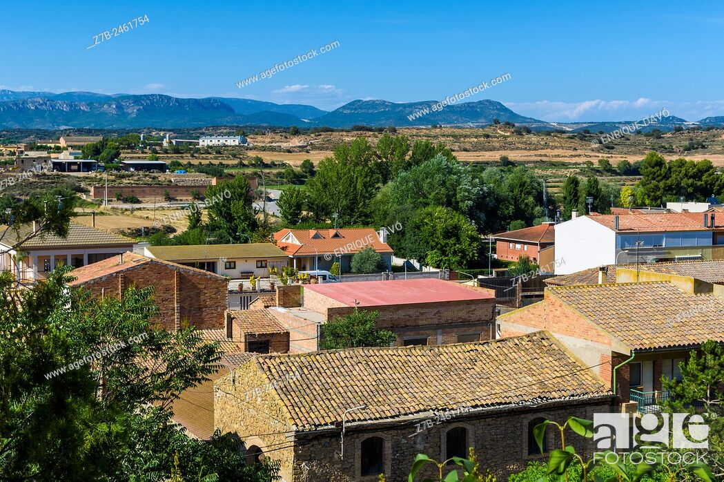 Stock Photo: High view of some houses in Sentiu of Sio, Lerida province, Spain.