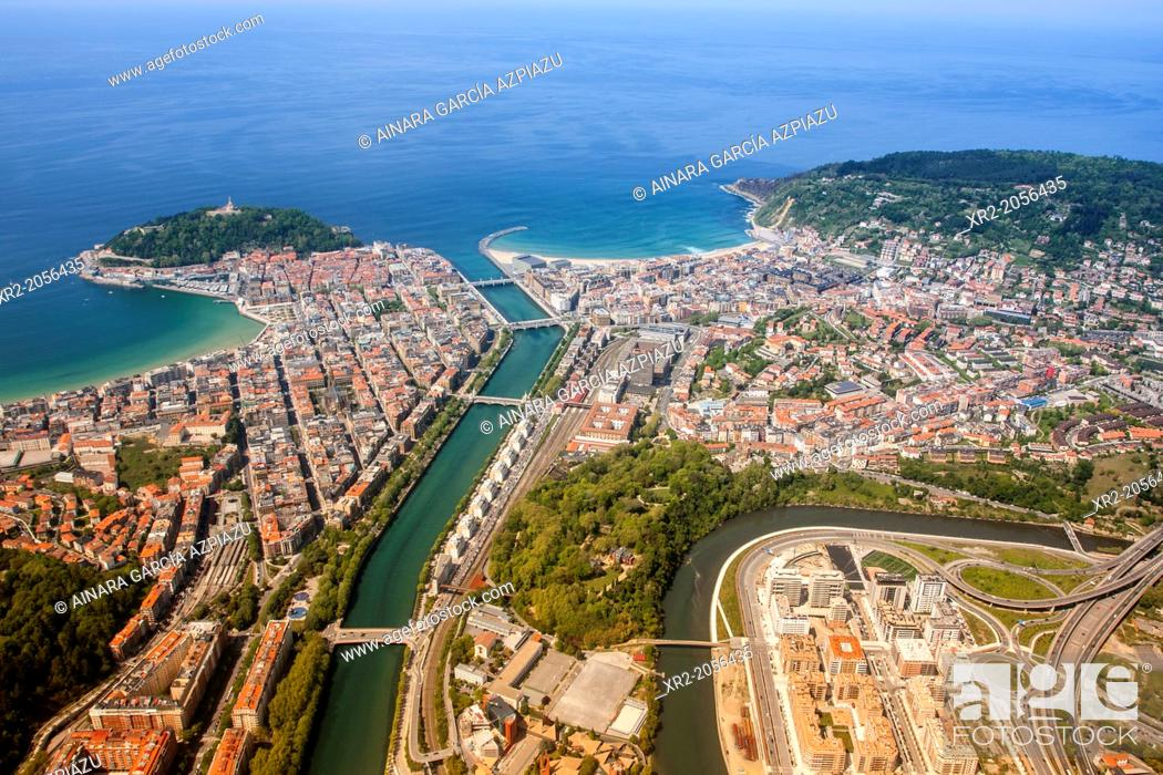 Stock Photo: Aerial view of Concha Bay, Donostia - San Sebastian, Basque Country.
