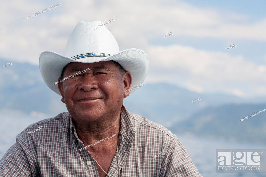 Stock Photo: Mayan man wearing cowboy hat.