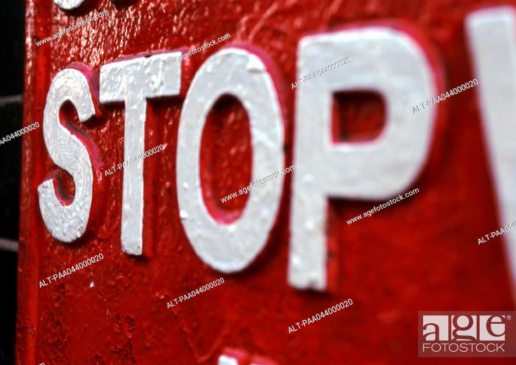 Stock Photo: 'Stop' sign, close-up.