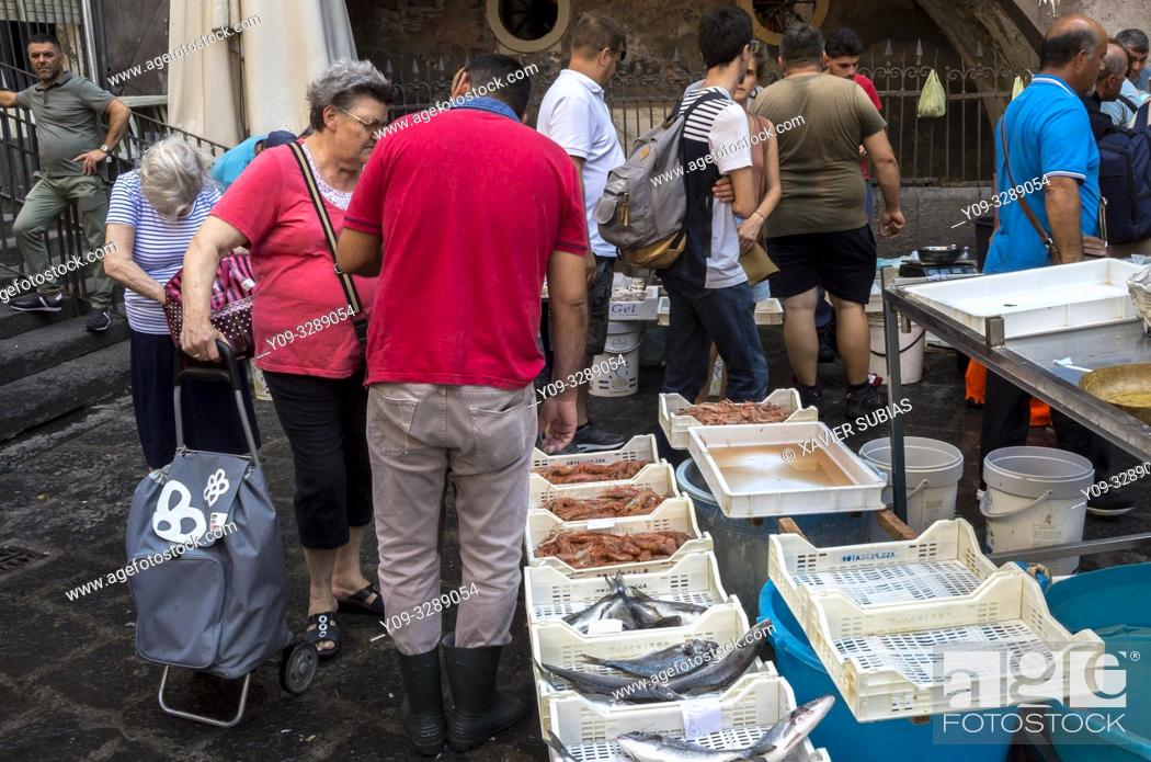 Stock Photo: Pescheria, Fish Market, Alonzo di Benedetto square, Catania, Sicily, Italy.