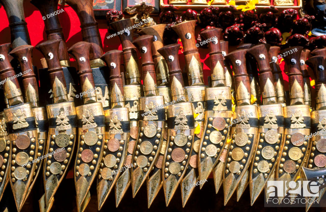 Traditional Nepalese Handicrafts Metal Knives Called Khukries On