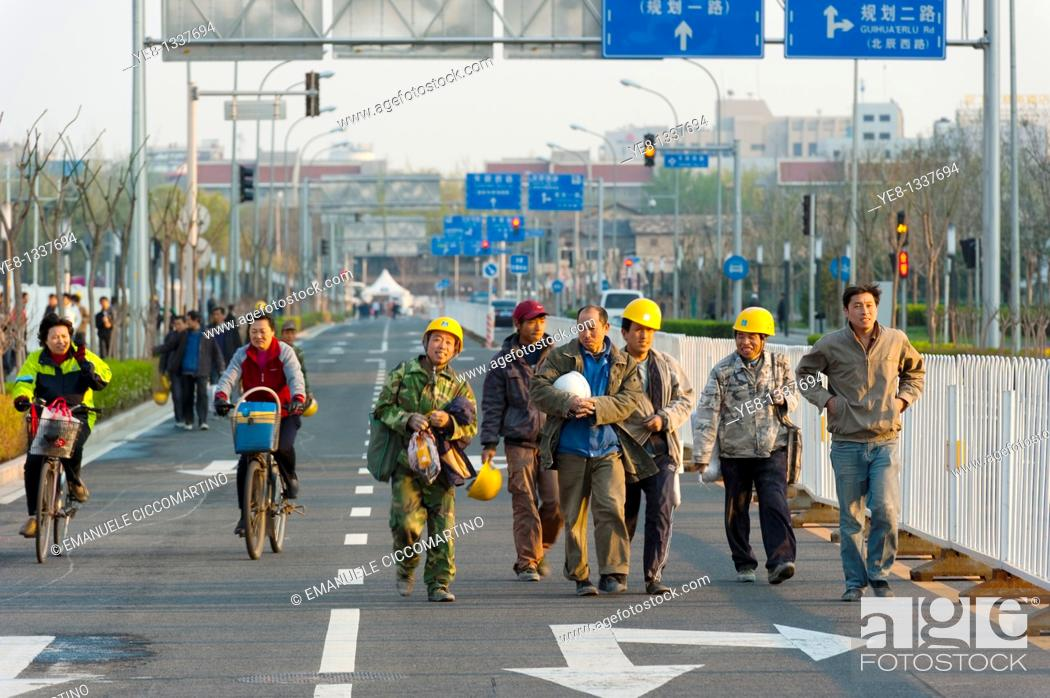 Stock Photo: Workers, Olympic Green, Beijing, China, Asia.