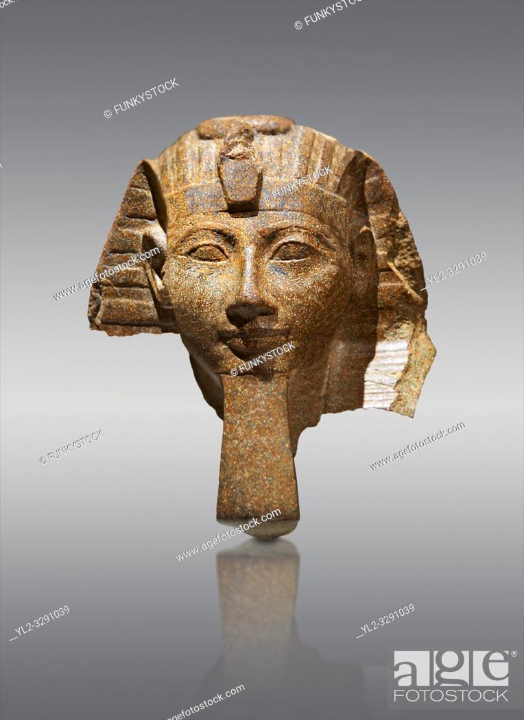 Stock Photo: Ancient Egyptian statue head of Queen Hatshepsut or King Thutmose III. Ancient Egypt 18th Dynaty, 1460-1450 BC. Neues Museum Berlin Cat No: AM 34431.