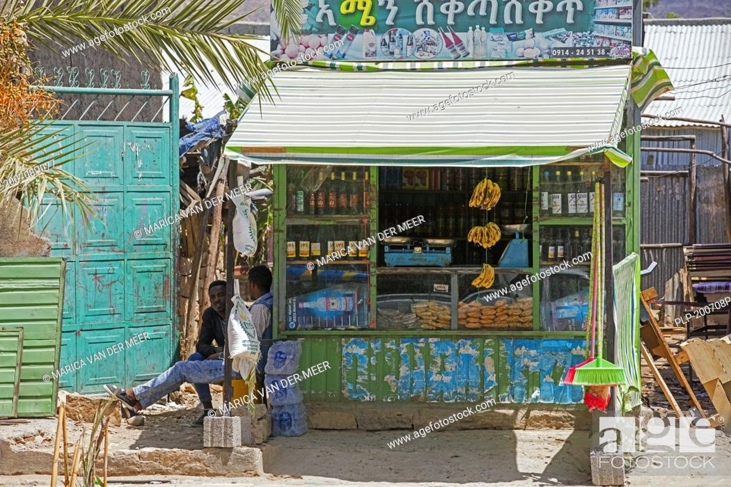 Stock Photo: Tiny grocer's / grocery shop in village in the Hawzen woreda of the Tigray Region, Misraqawi Zone, Ethiopia, Africa.