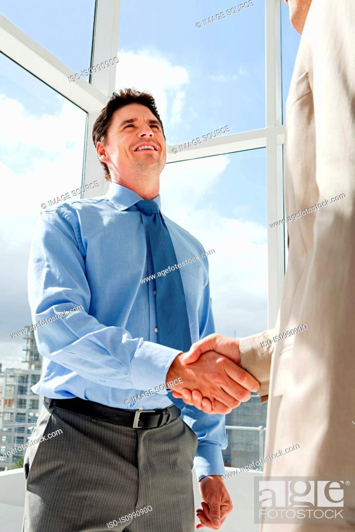 Stock Photo: Two businessmen shaking hands in office.